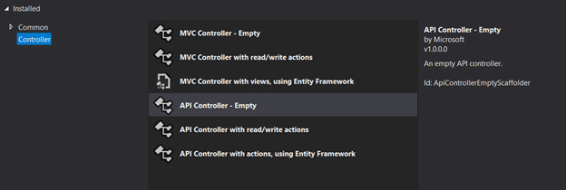 """Shows the template to select is titled """"API Controller - Empty."""""""