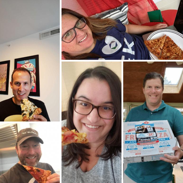 A collage of EK Rockstars eating pizza